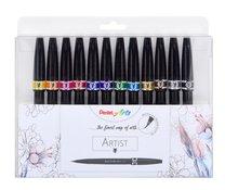 """Štětečky barevné Sign Pen """"Artist"""" v sadě 12 barev Pentel SESF30C-12"""