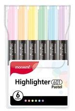 Zvýrazňovače Monami 601-6 sada PASTEL Highlighter